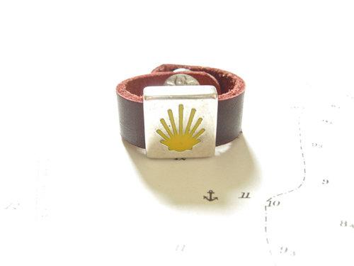 Camino de Santiago symbols ring - leather 10mm MCJ01186