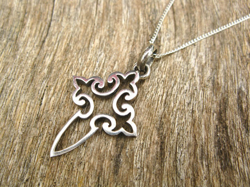 Cross of St James necklace ~ open fretwork, silver 00732