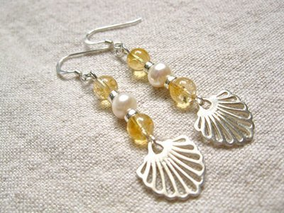Compostela earrings with citrine + pearl - said to encourage happiness, success, creativity