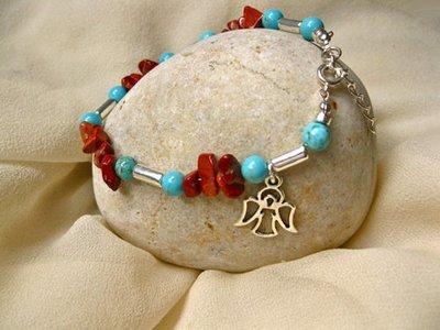 Guardian angel bracelet ~ red jasper + turquoise