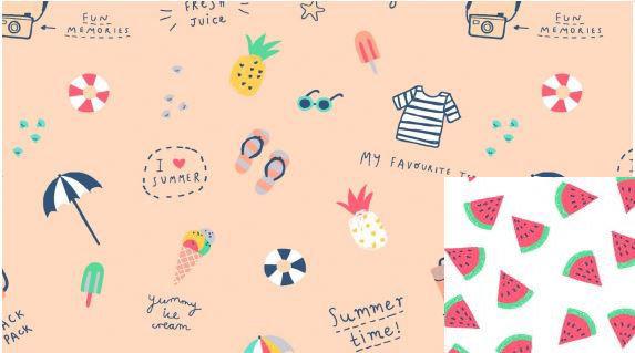 Life's a Beach - watermelon lining
