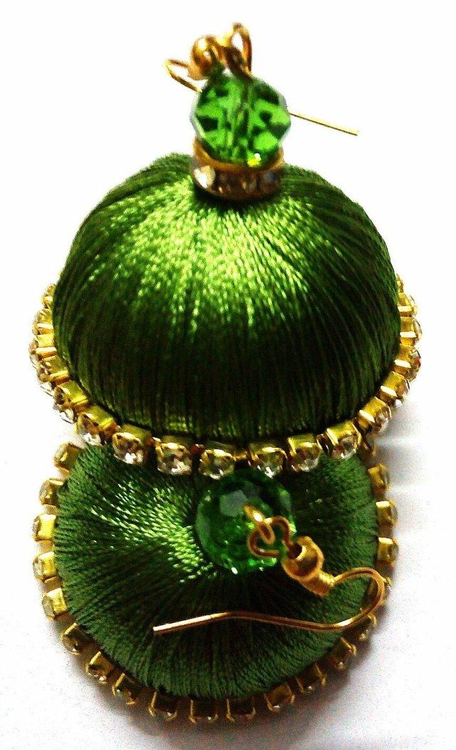 Silk Thread Jhumka Earrings Green TCJHUM001