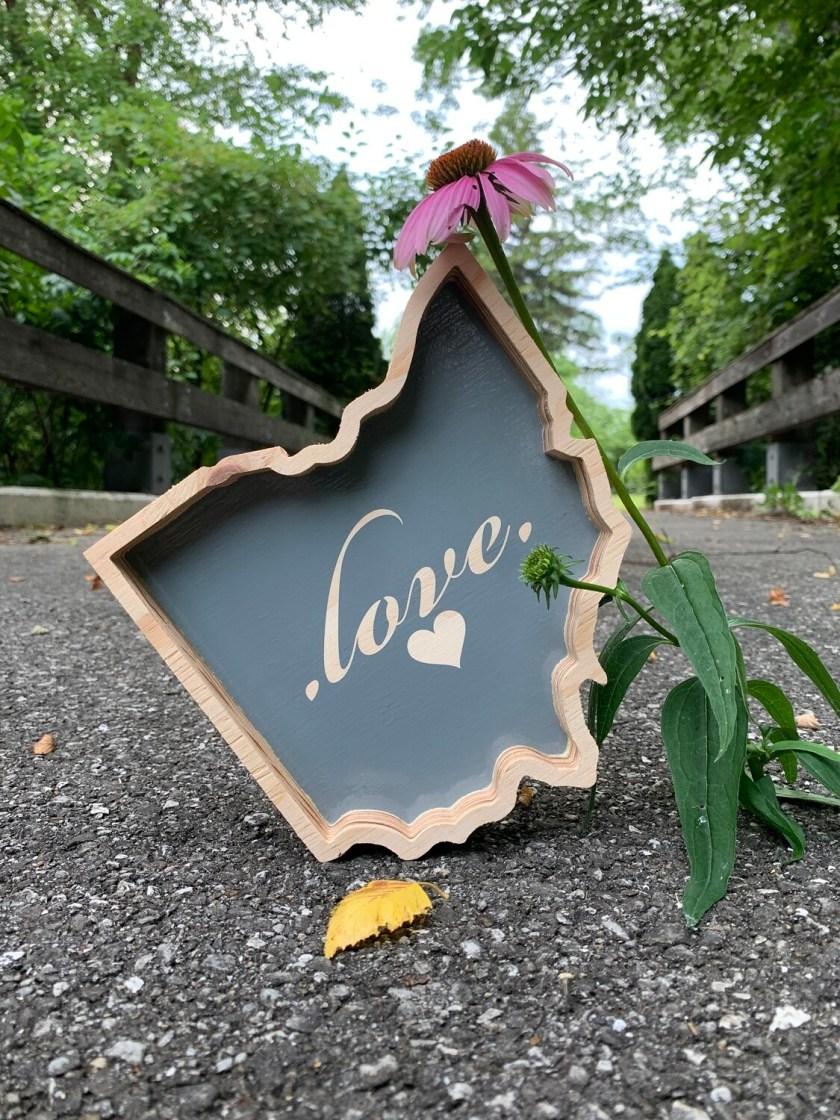   ohio outline ... love   wood  