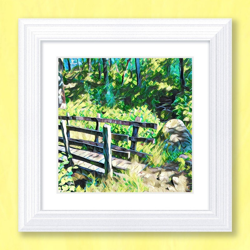 Woodland Footbridge Art Print