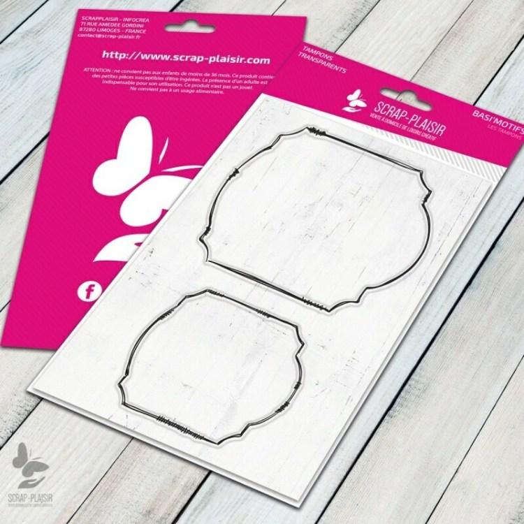 Set de 2 tampons clear cadres étiquettes ardoise - 10x15cm
