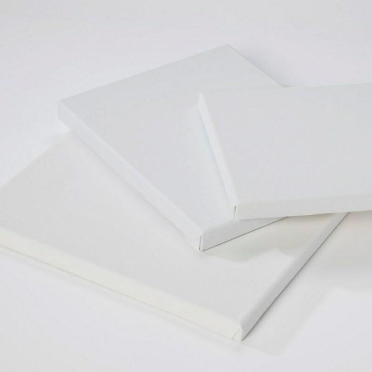 Châssis entoilé 3D coton blanc - 20x20 cm - 380 g/m²