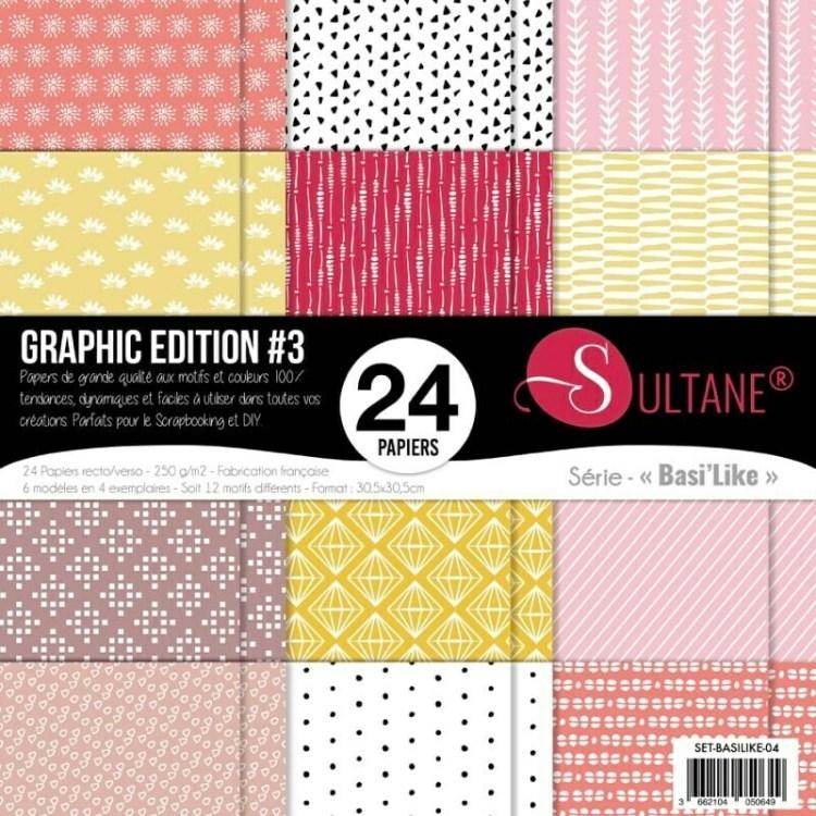 Set de 24 papiers Sultane Basi'Like recto/verso 30,5x30,5 cm - 250 g/m2 - Graphic édition 3