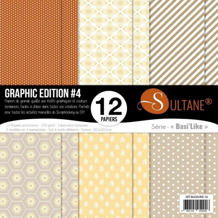 Set de 12 papiers Sultane recto/verso 30,5x30,5 cm - 250 g/m2 - Graphic édition 4