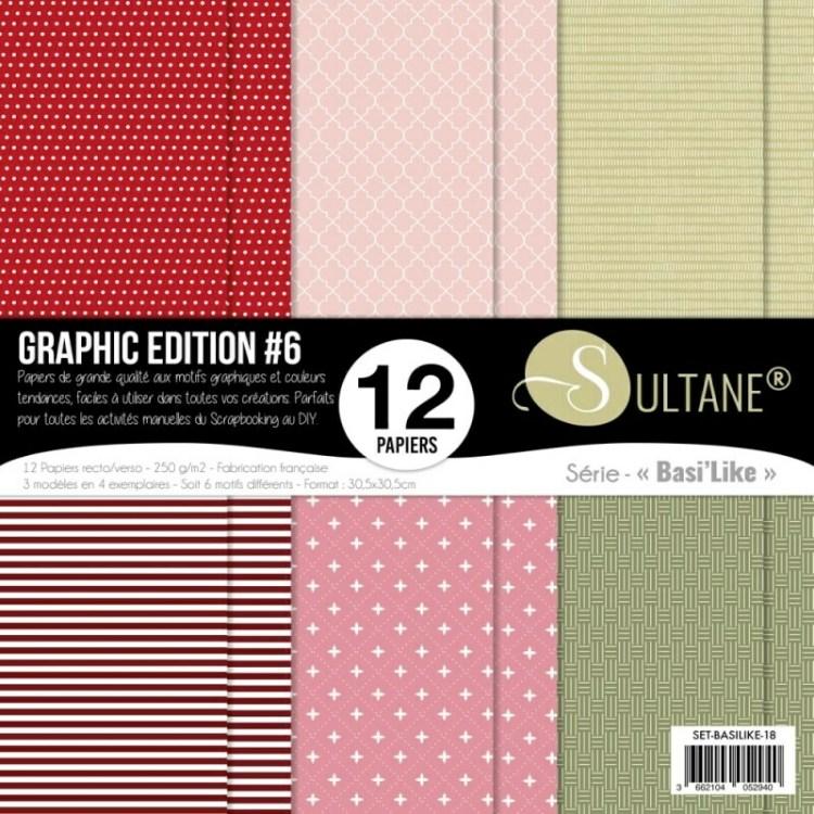 Set de 12 papiers Sultane recto/verso 30,5x30,5 cm - 250 g/m2 - Graphic édition 6