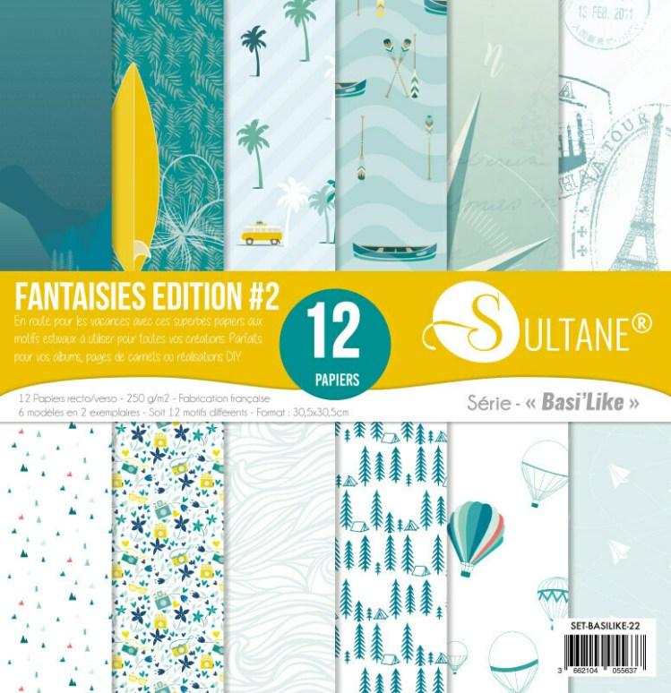 Set de 12 papiers Sultane recto/verso 30,5x30,5 cm - 250 g/m2 - Fantaisie édition 2
