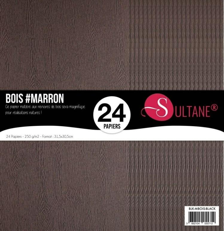 Set 24 papiers scrapbooking - Texture bois Ebene - 300g/m2