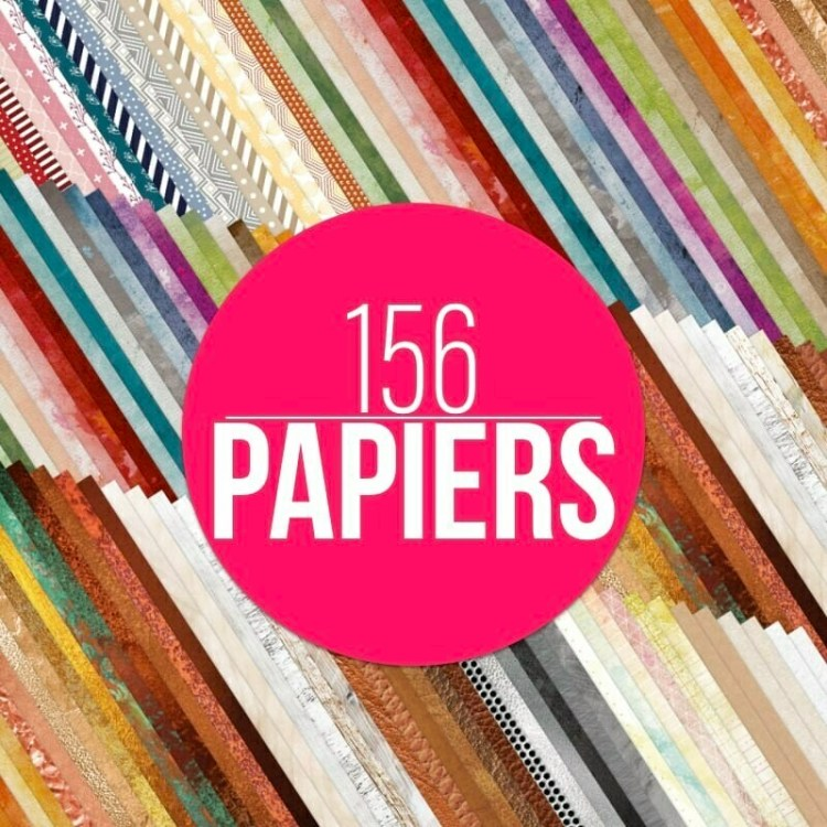 Lot de 156 papiers créatifs