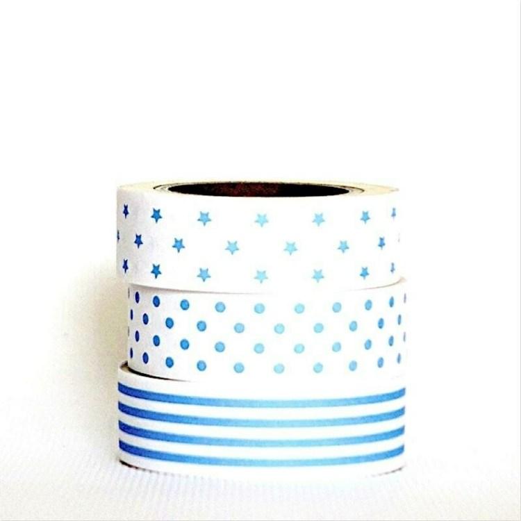3 rouleaux de masking tape géométriques - Bleu