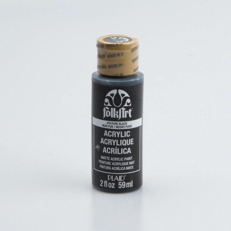 Peinture acrylique mat FolkArt Plaid 59 ml - Pure Black