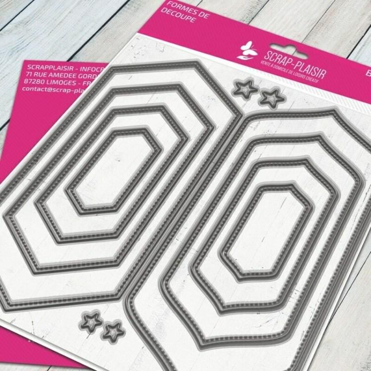 Set de 3 matrices de découpe cadre fausse couture - 14,5x14,5cm