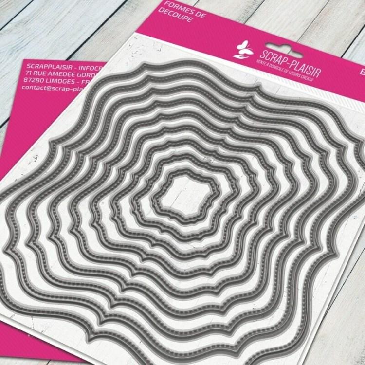 Set de 9 matrices de découpe cadre romantique + fausse couture - 14,5x14,5cm