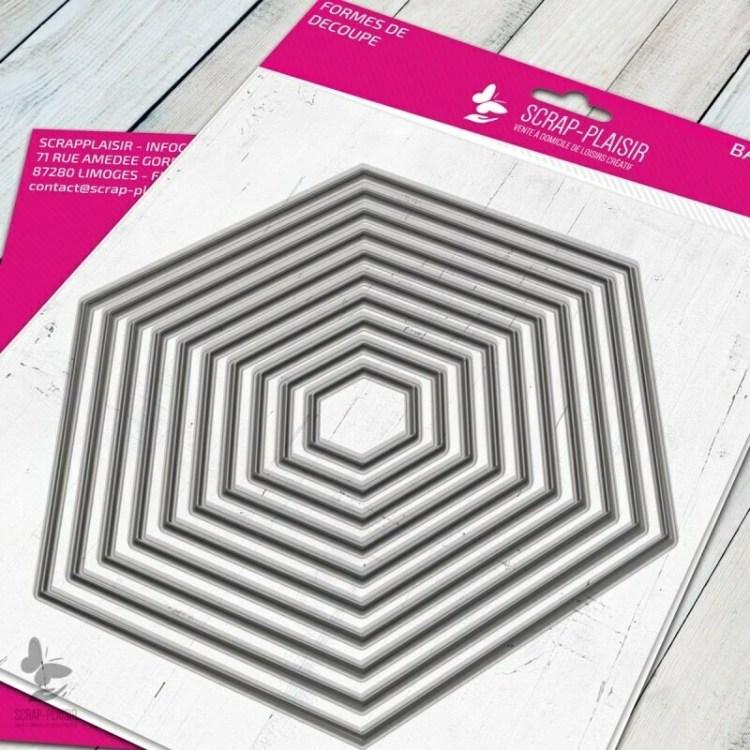 Set de 10 matrices de découpe hexagones - 14,5x14,5cm