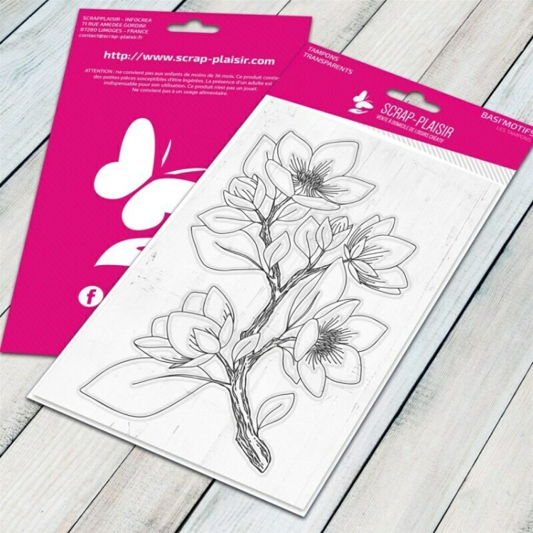 Tampon clear rameau fleuri 1 - 10x15cm