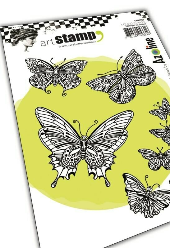 Set de 4 tampons cling A6 - Envol de papillons by Azoline - 10x15cm