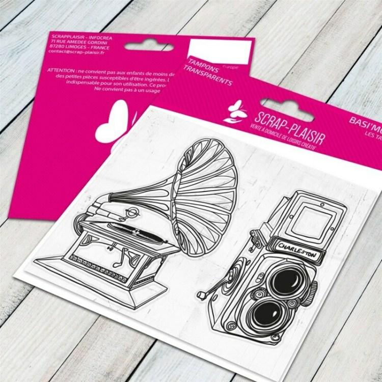 Set de 2 tampons clear gramophone - 10x8cm