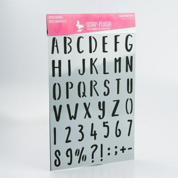 Pochoir décoratif Basi'Motif grand format Alphabet majuscule - 30 cm