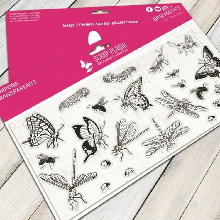 Set de 23 tampons clear chenilles et libellules - 10x21cm