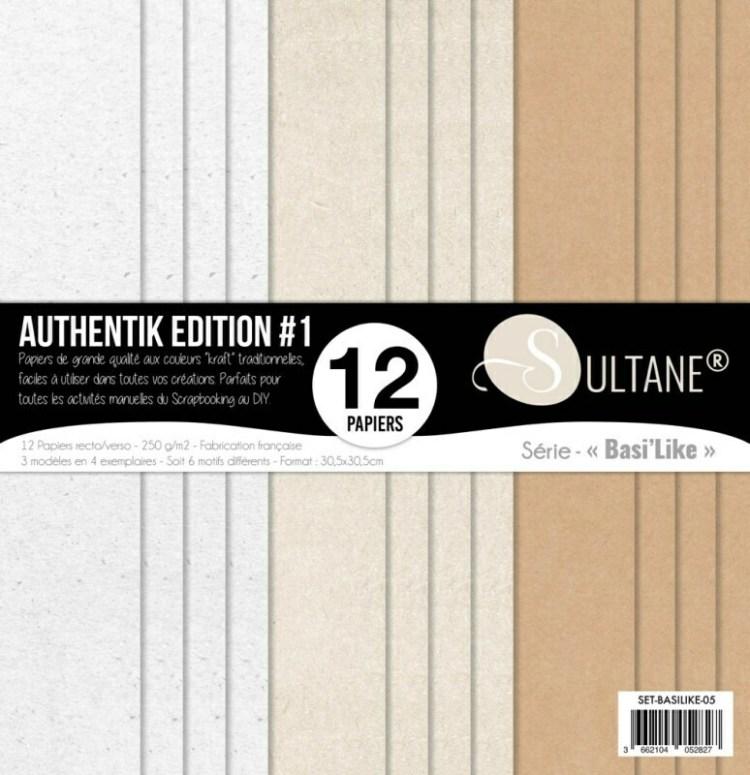 Set de 12 papiers Sultane recto/verso 30,5x30,5 cm - 250 g/m2 - Authentik édition 1