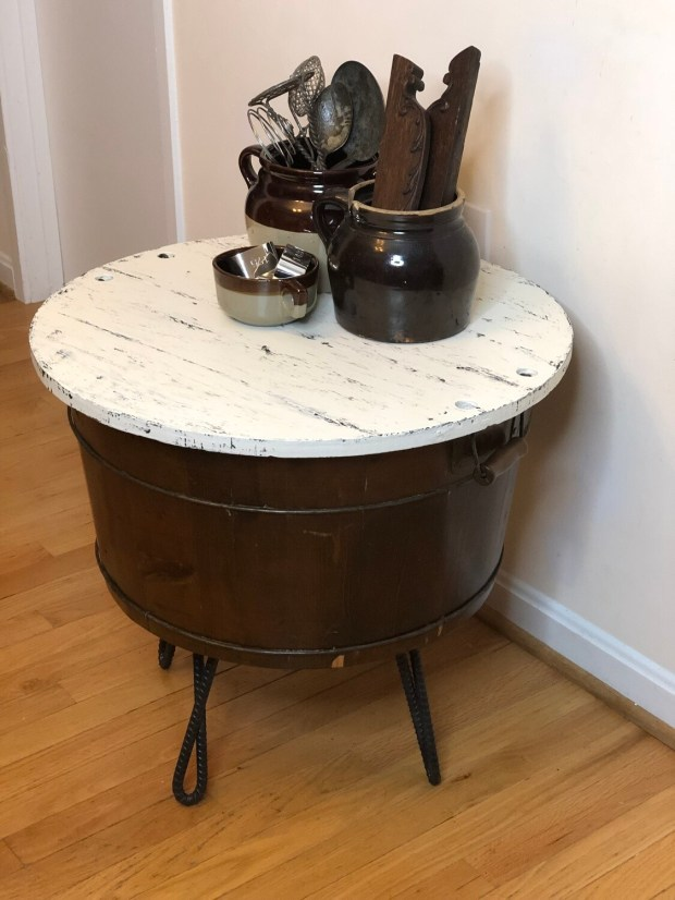 Rustic End Table, Re-purposed Barrel, Storage End Table