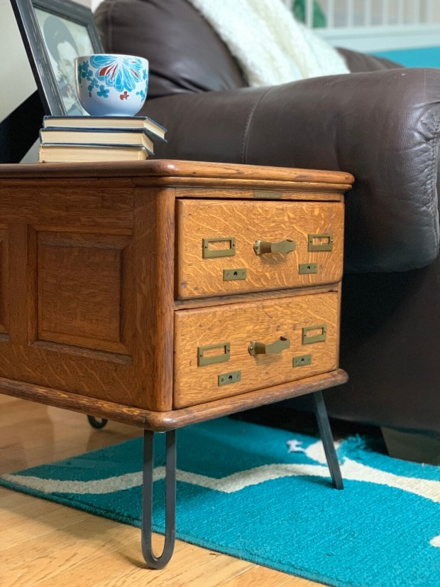 Vintage End Table, Library Cabinet, Antique End Table
