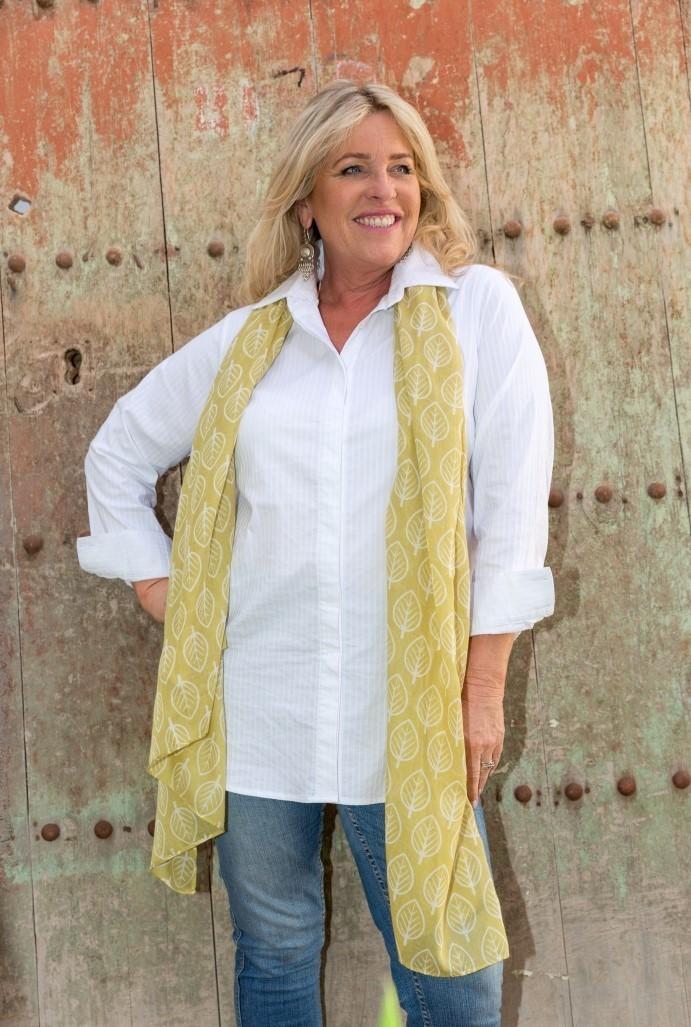 Tenley - Classic self stripe white stretch cotton shirt