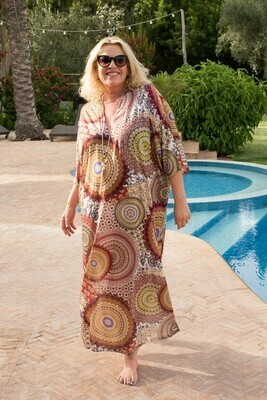 Kameela - Retro print Kaftan/Cover up