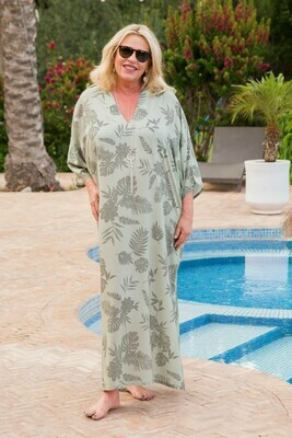Karabi - V-Neck Leaf Print Kaftan/Cover up