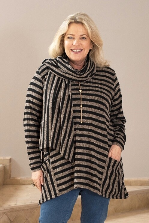 Tamela - Knitted Stripe top with matching scarf.