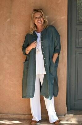 Kalinda - Long linen/cotton mix wide cut Shirt/Jacket