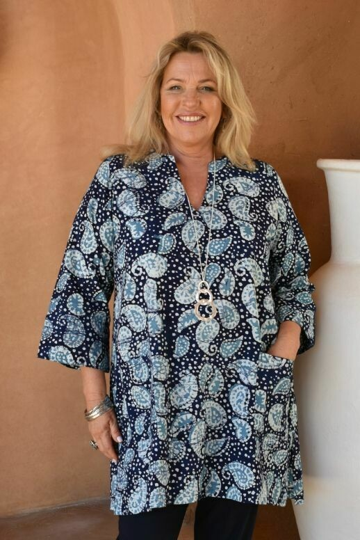 Tatu - Cotton Batic print tunic with two pockets
