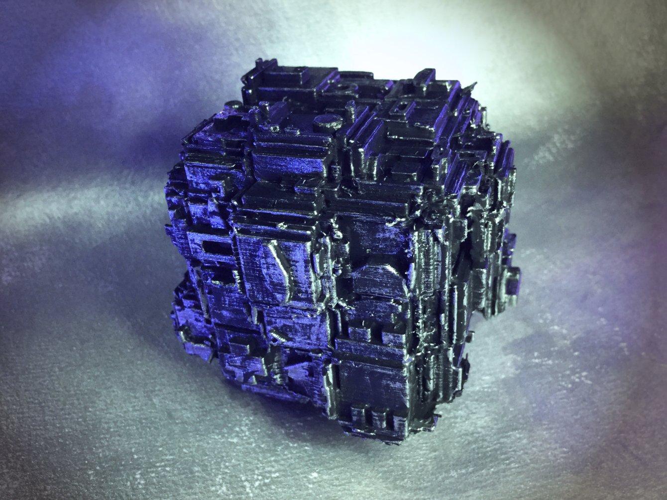 Mini Hypercube, hand-painted metallic silver effect finish