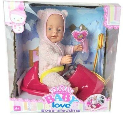 Пупс функциональный со снегокатом (пьет, писает) baby love BL011H
