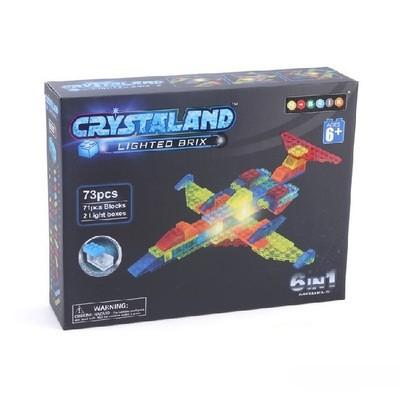 Светящийся конструктор ИСТРЕБИТЕЛЬ 6 в 1. 73 дет. Crystaland 99007