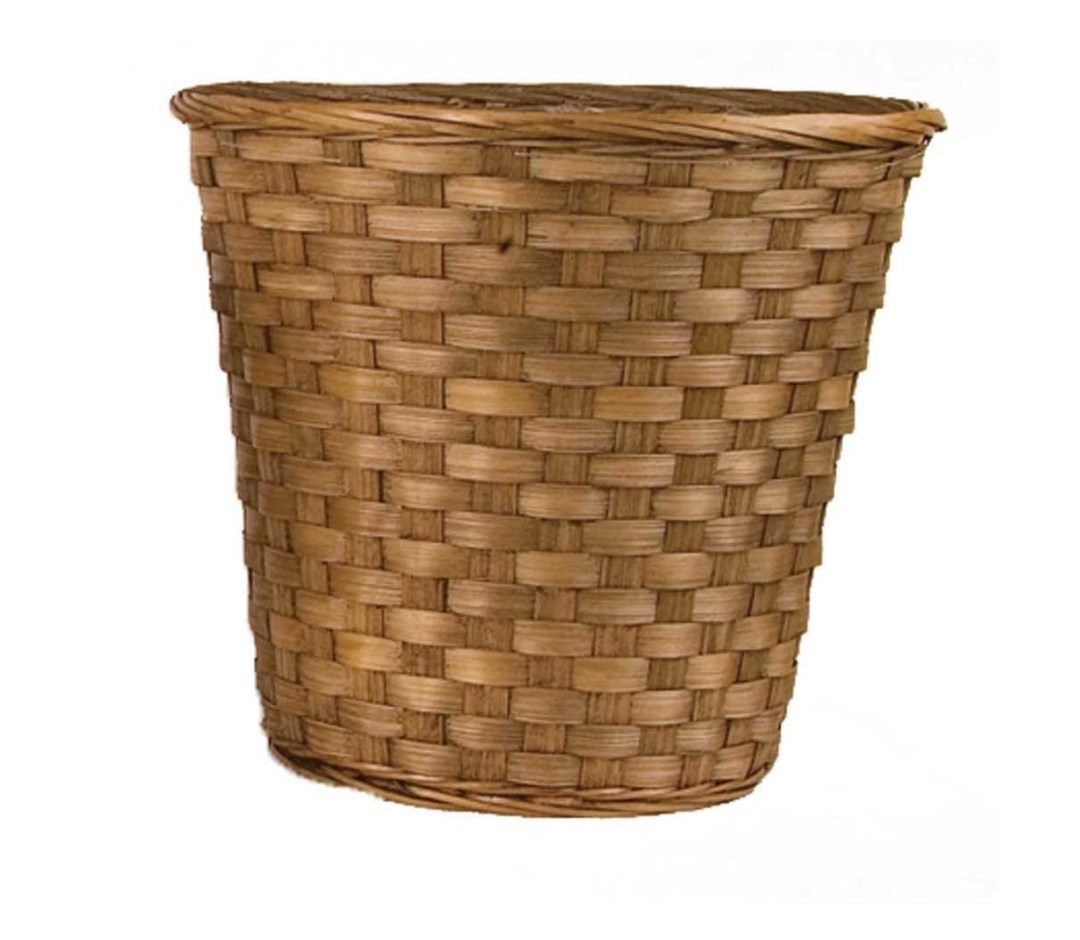 """MS1745-12DK - 12"""" Stain Bamboo Pot sewn In Liner ( fits 10"""" pot) MS1745-12DK"""