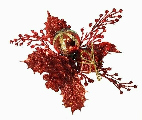 XP1003RED - Red Ball Cone Package Holly Glitter Pick