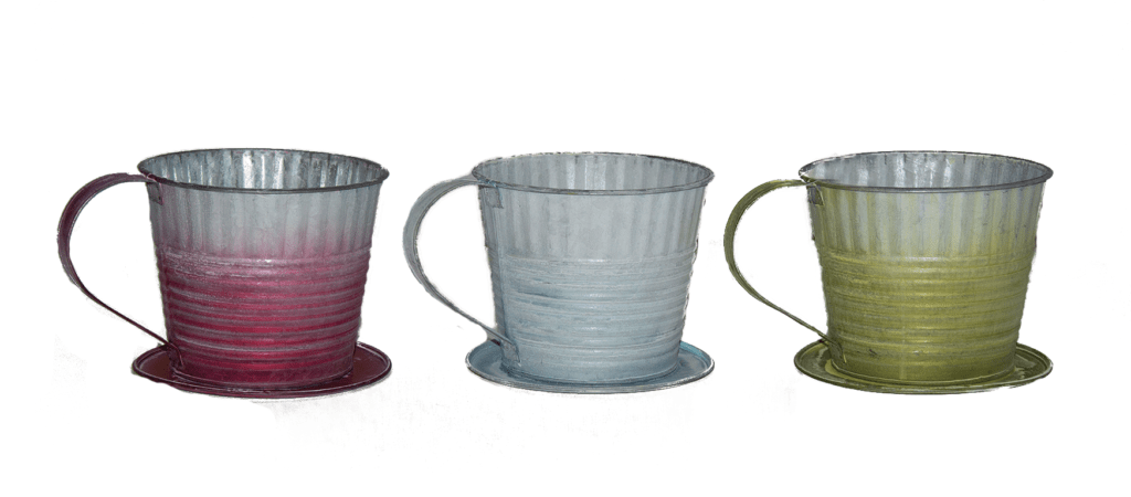 "MTL8004ASST - Assorted color wash country tin tea cup with 5"" opening with liner MTL8004ASST"
