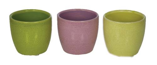 "CP5202ASST - 3 Assorted Color 4.5"" Crackle Finish Pot CP5202ASST"