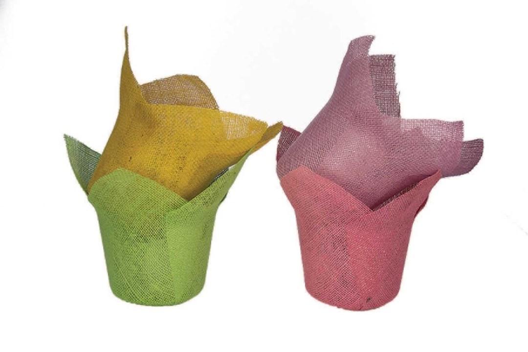 """JU6ASST - 6"""" Assorted Color Jute Pot Cover JU6ASST"""