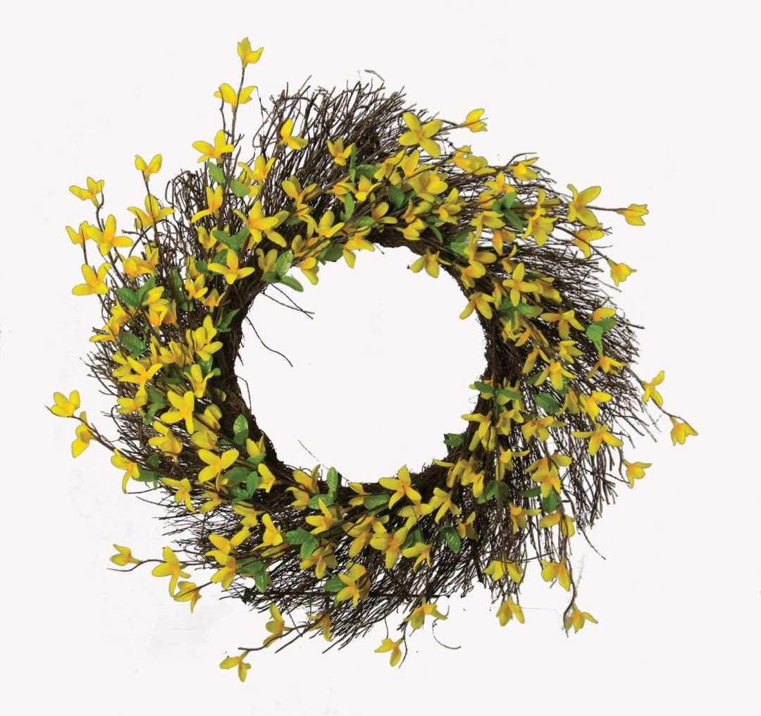 "WR42015 - 24"" Forsythia Wreath With Vine Frame $22 each WR42015"