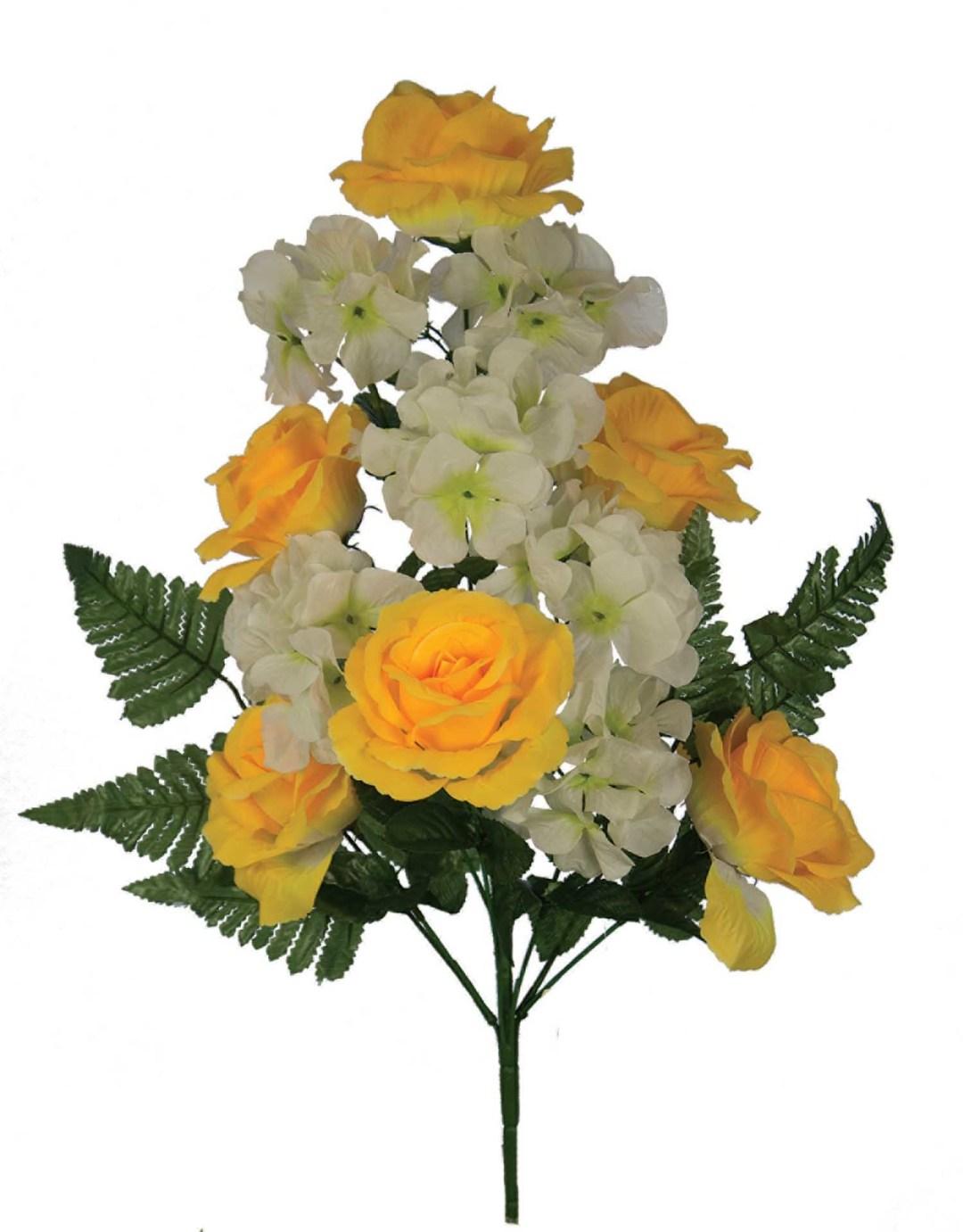 "SB3005YELL - 18"" One Sided Open Rose / Hydrangea Mix x12 $3.95 each SB3005YELL"