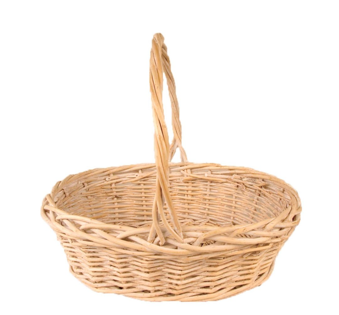 "MS1160-15WW - 15"" Oval White Washed Willow With Handle $11.95 W/L Liner Included MS1160-15WW"