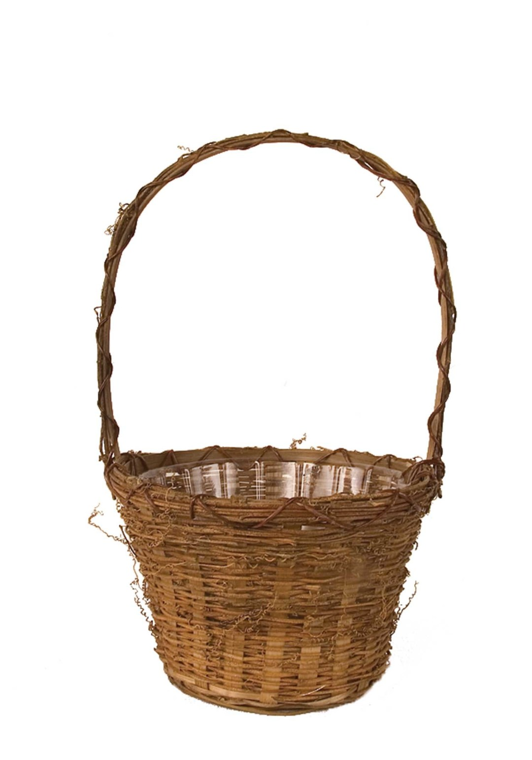 """MS1063 - 10"""" Wide Tall Handle Rustic Basket Sewn In Liner $5.75 each MS1063"""
