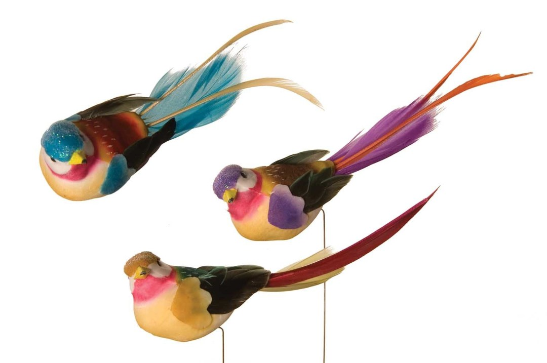 """DP2014 - Assorted 5"""" Long Tropical Bird On Wire $9.49 per dozen DP2014"""