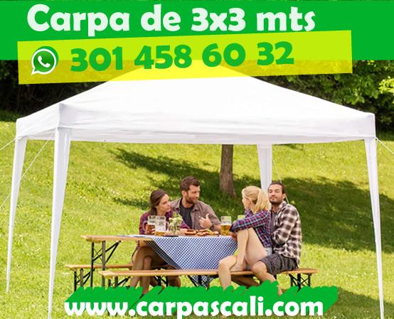 CARPA TOLDO PARASOL DE 3x3 POLIETILENO BLANCO 3X3X2.50