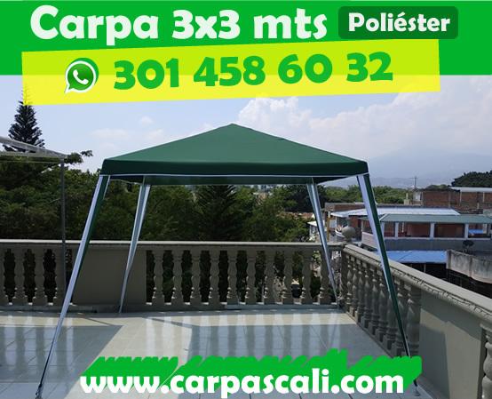 CARPA TOLDO PARASOL DE 3X3 POLIÉSTER VERDE Poliéster3x3Verde